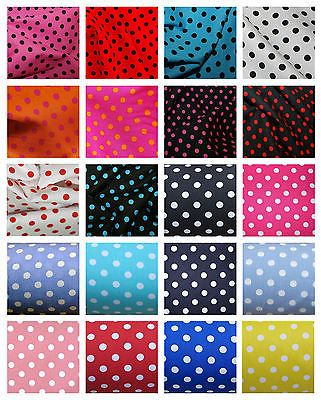 Pin Spot Printed poly cotton fabric material WHITE with RED SPOT 115cm