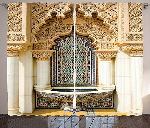 Ambesonne Moroccan Decor Collection Vintage Building Design Islamic Classy Bedroom Desgin Exterior Collection