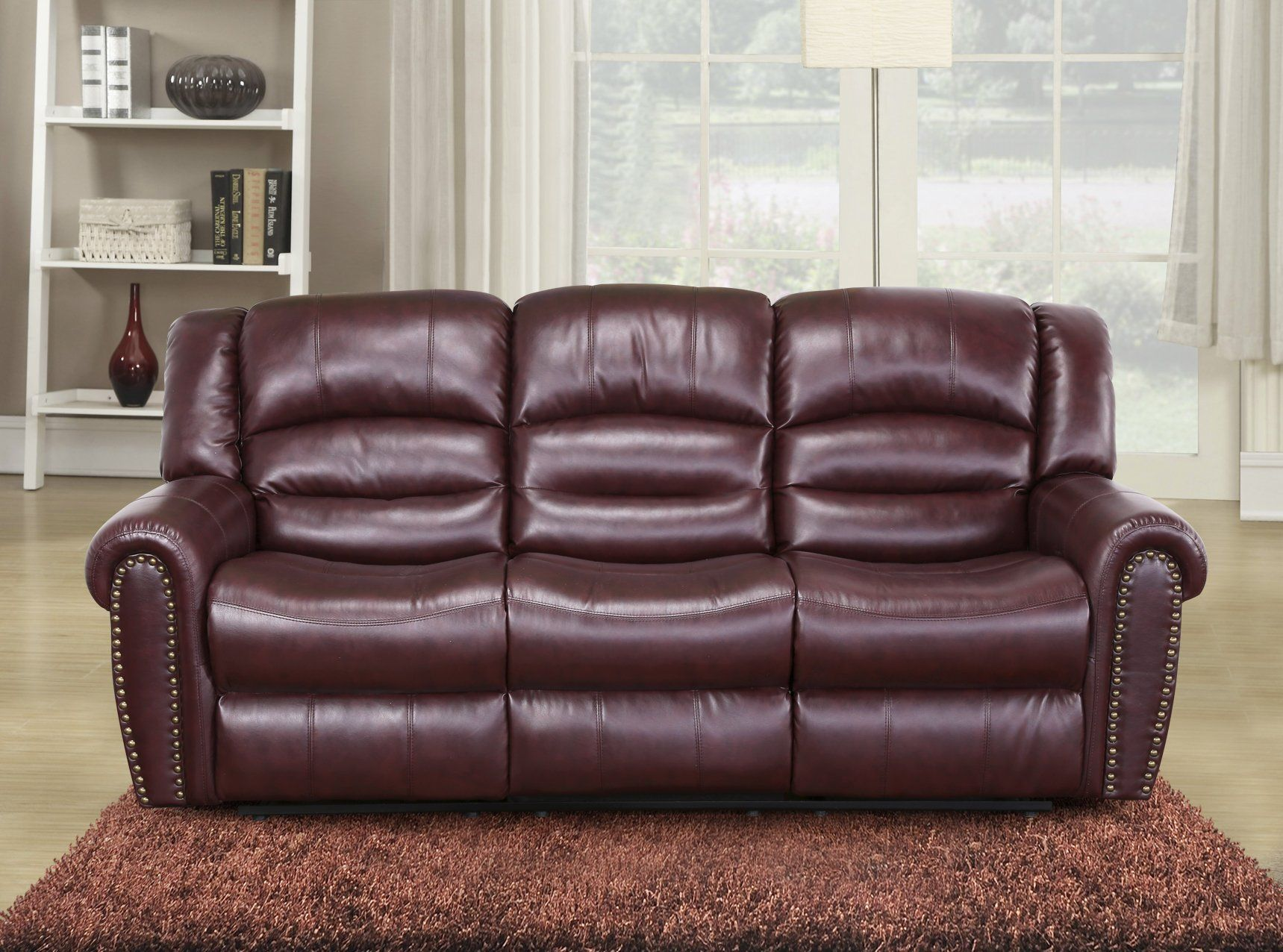 Meridian Furniture Nailhead Reclining Sofa, Burgundy. Genuine Top Quality  Bonded Leather. Dual Reclining