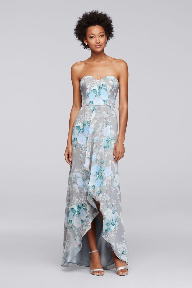 b882deb9cc Extra Length Chiffon Printed Bridesmaid Dress with High-Low Hem - Grey    BluePrint
