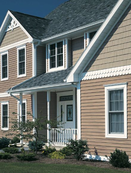Two tone siding the colors are too similar dream house for Vinyl siding color ideas
