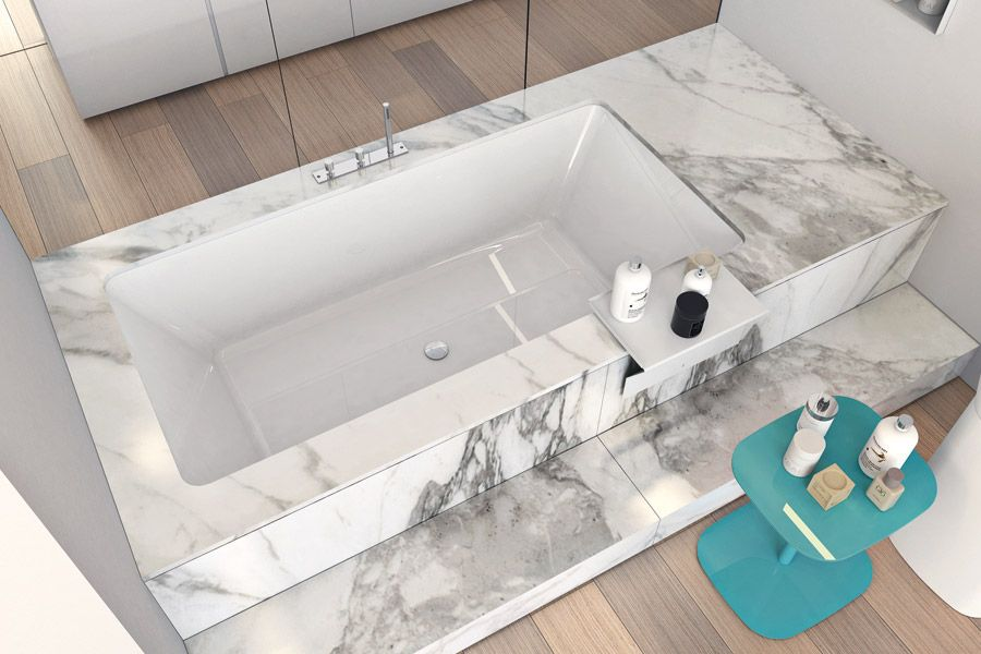 Unclad Undermount Bathtub With A Rectangular Base Integrated In An Expanded Polystyrene Structure It Is Available In Bathroom Solutions Bathtub Bathtub Design