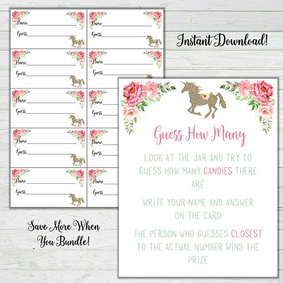 Unicorn Baby Shower Game Set Baby Shower 9 Game Bundle Answer