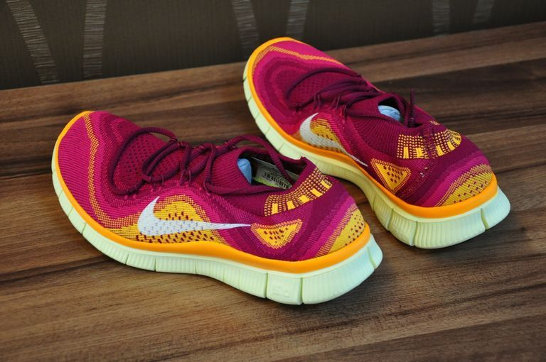 premium selection d1806 805a0 Womens Nike Free Flyknit 5.0 Grape Wine Red Deep Yellow Beige
