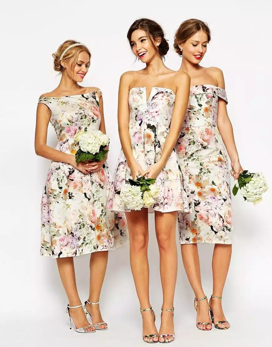 Floral print wedding dresses  Floral print bridesmaid dress  Wedding bells  Pinterest  Printed