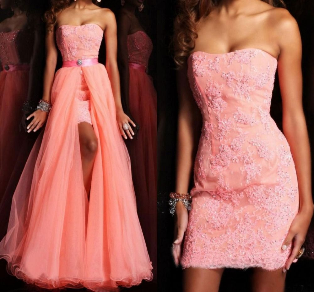 New Design Two Pieces Strapless Short Tulle Prom Dress With ...
