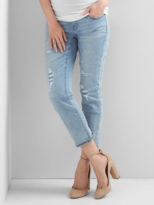 7111205884880 Gap Womens Maternity Full Panel Destructed Best Girlfriend Jeans Medium  Indigo Size 4