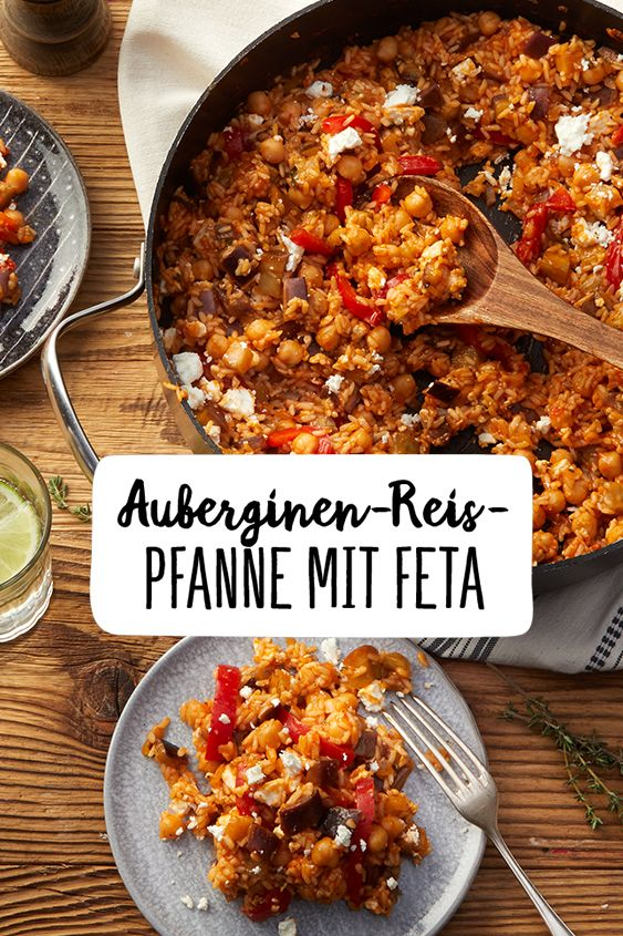 Auberginen-Reispfanne mit Feta #vegetarischerezepte