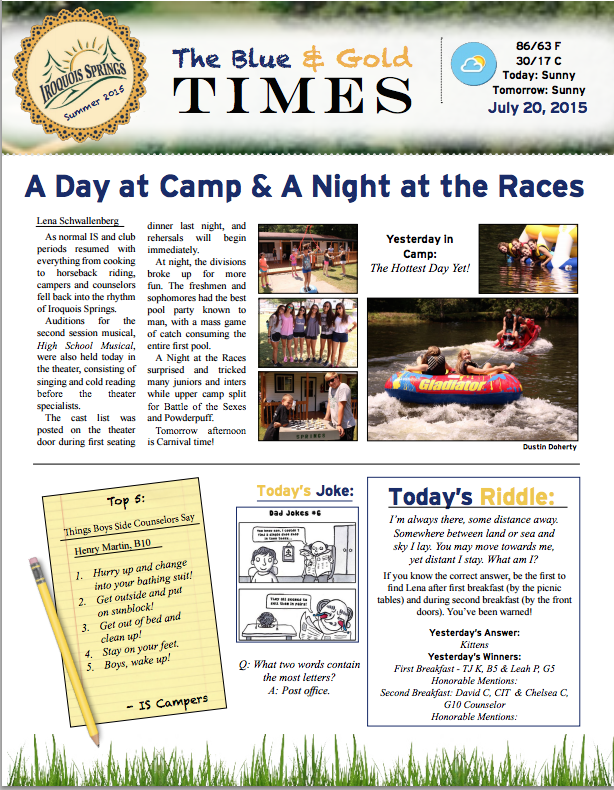 July   Newsletter Part    Newsletters