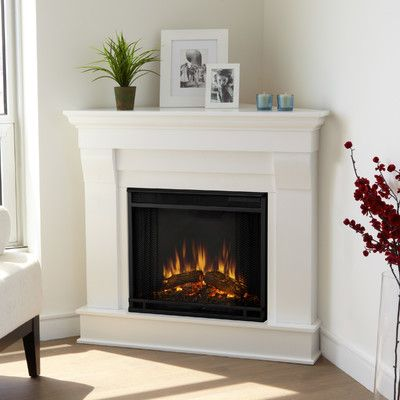 Real Flame 5950e W Chateau Corner Electric Fireplace Finish White