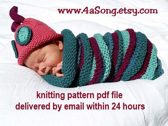 Caterpillar Baby Cocoon and Hat Knitting Pattern in Plain English ...