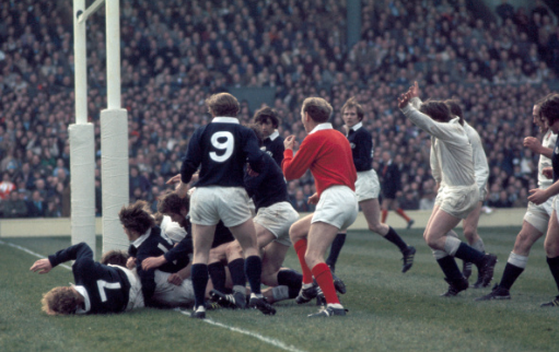 Peter Dixon (hidden) scores England's 3rd try during the