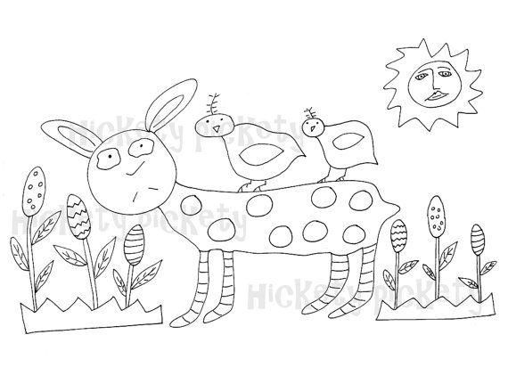 Primitive Stitchery Pattern Rabbit Bunny Chicks by