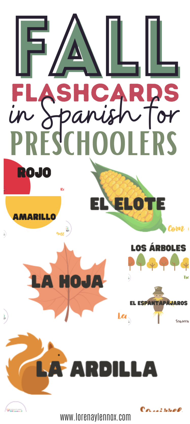 ree Fall-Themed Spanish Flashcards and Coloring Book for Your Preschooler or Toddler. Both the flashcards and the coloring book are both great visual items to help your toddler or preschooler learn about fall. I wanted to share these with you so you, mom and dad, grandma or grandpa, aunt or uncle, or loved-one, can learn fall Spanish words side-by-side with your child. #homeschoolactivitiesinSpanish #activitiesinspanish #spanishpreschoolactivities