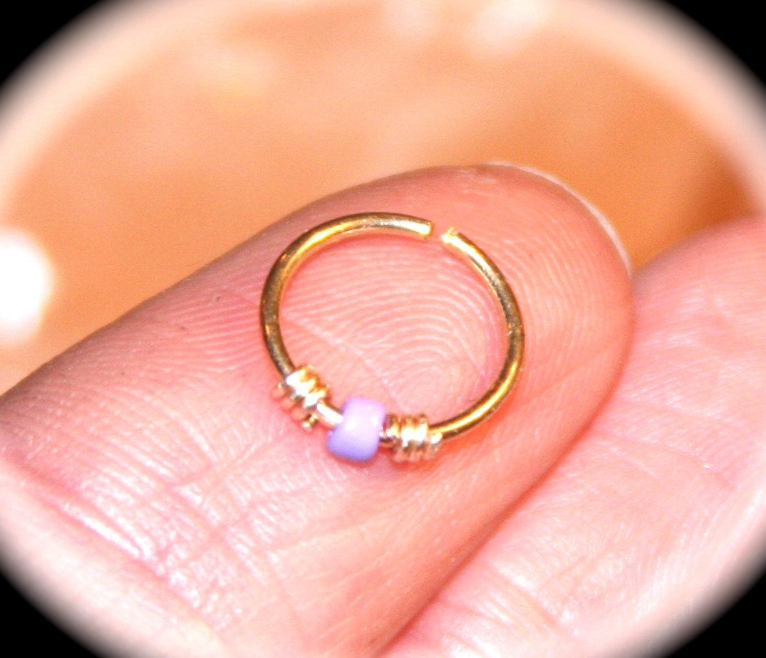 Small Cartilage Earring, Lilac Beaded 14k Yellow Gold Filled Nose Ring, 20  22 24 Gauge Cartilage Hoop, Tragus, Helix, Hex Endless Hoop