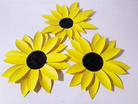 How to make sunflower from chart paper  very easy craft ideas youtube also rh pinterest
