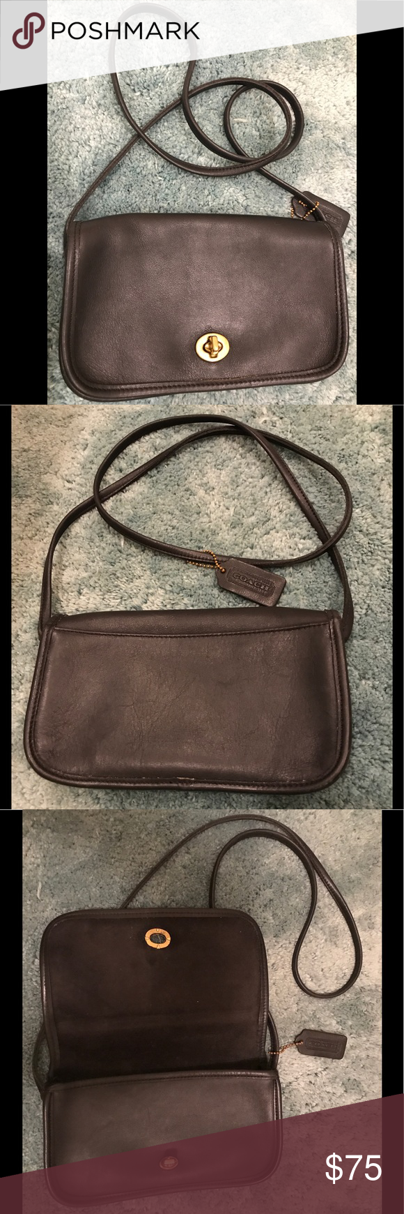 """Coach Vintage 80s leather crossbody bag Beautiful leather from the 80s, very light and soft. W9""""-H5""""-D1"""", strap drop about 20"""".  Small size but can hold essential items (phone,lipsticks and keys). Very good used condition for this aged bag. Much love for the Coach vintage bag 💕. Coach Bags Crossbody Bags"""