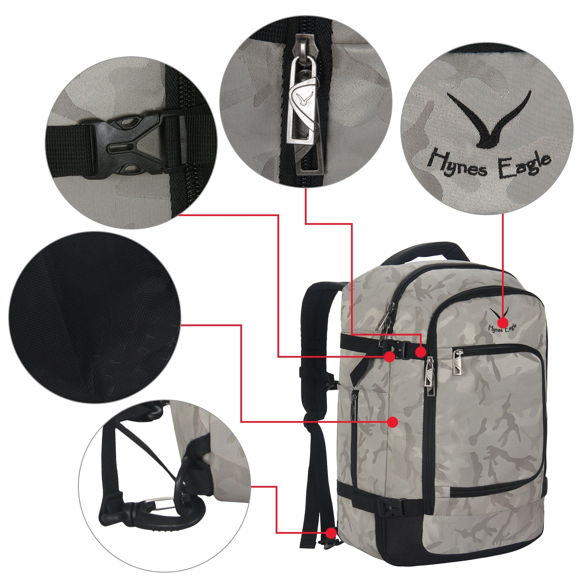 f76da13a5 Hynes Eagle Travel Backpack 40L Flight Approved Carry on Backpack Light  Camo #backpackaccessories