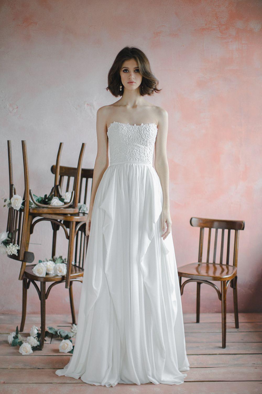 Strapless lace corset bodice wedding dress with unique