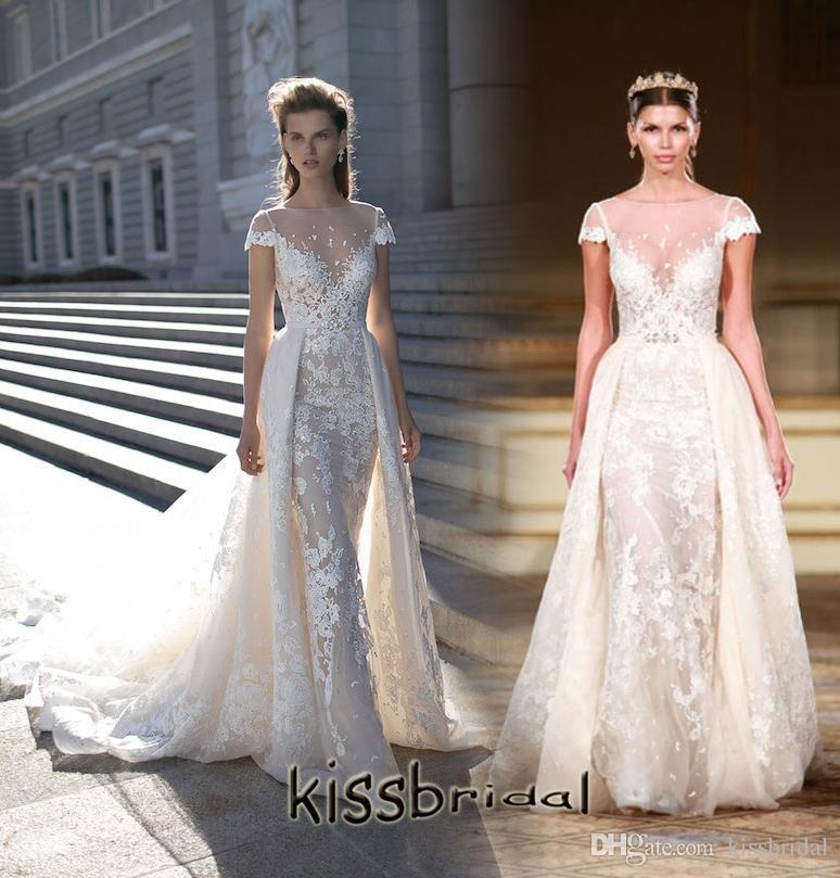 Tulle Overskirt Wedding Dresses Mermaid Bateau Neck Simple: Berta Bridal 2016 Wedding Dresses With Detachable