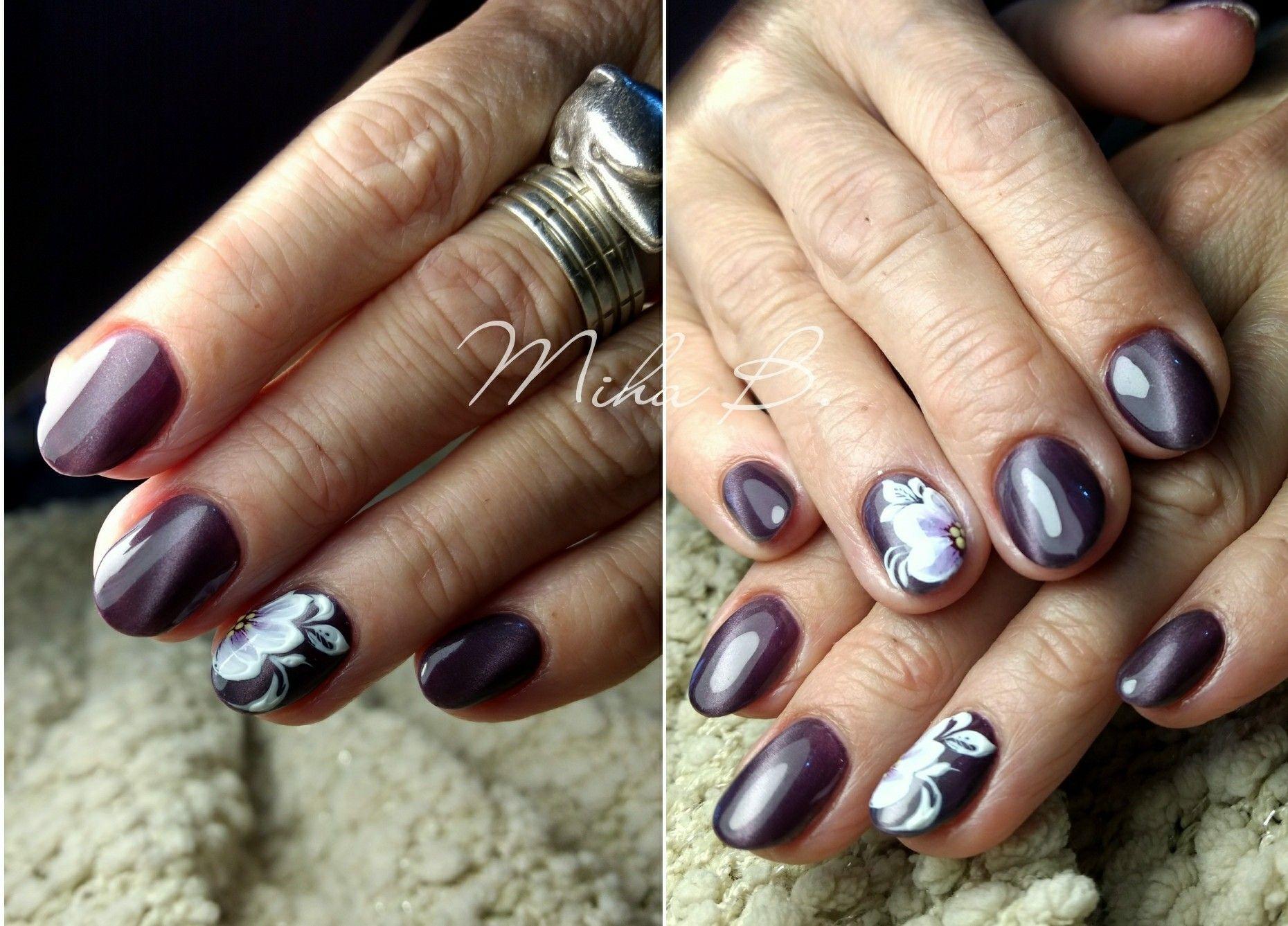 Cat eye nails, purple nails, flowers, nail design   Nail art ...