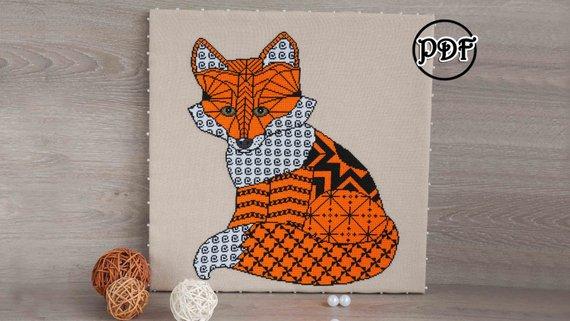 Geometric fox Cross Stitch Pattern pdf-fox cross stitch