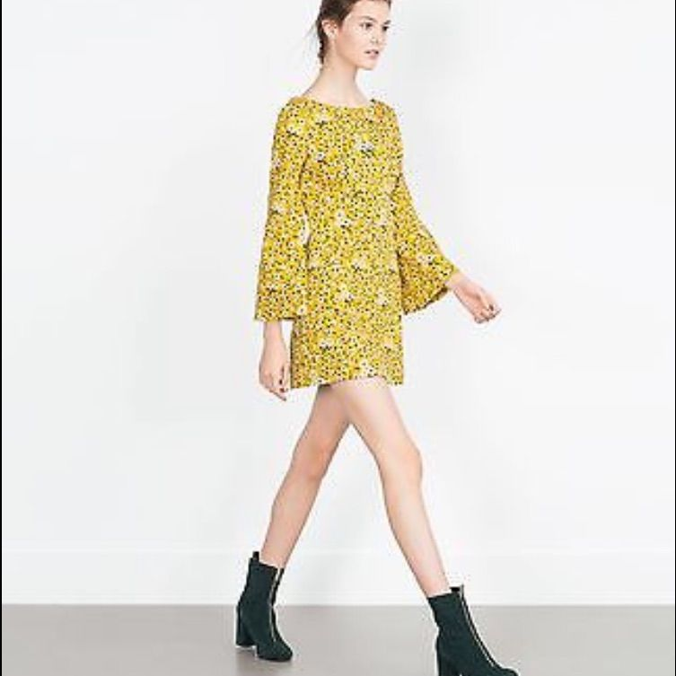 ad67ecea31 Zara 60 S Yellow Floral Dress White Long Sleeve Dress