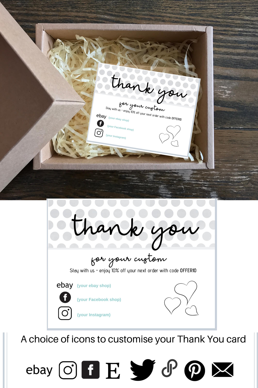 Thank You Business Card Editable Card Poshmark And Ebay Etsy Business Thank You Cards Editable Cards Cards