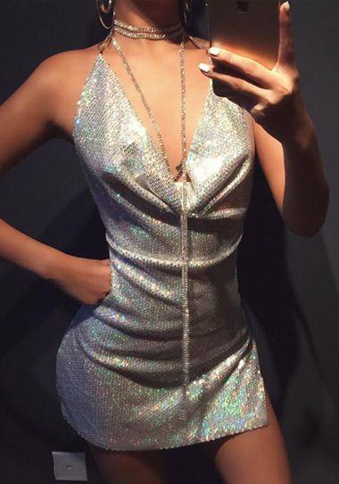 c8f9e883 Silver Shinning Sequin Draped Chain Halter Neck Backless Sexy Club Mini  Dress