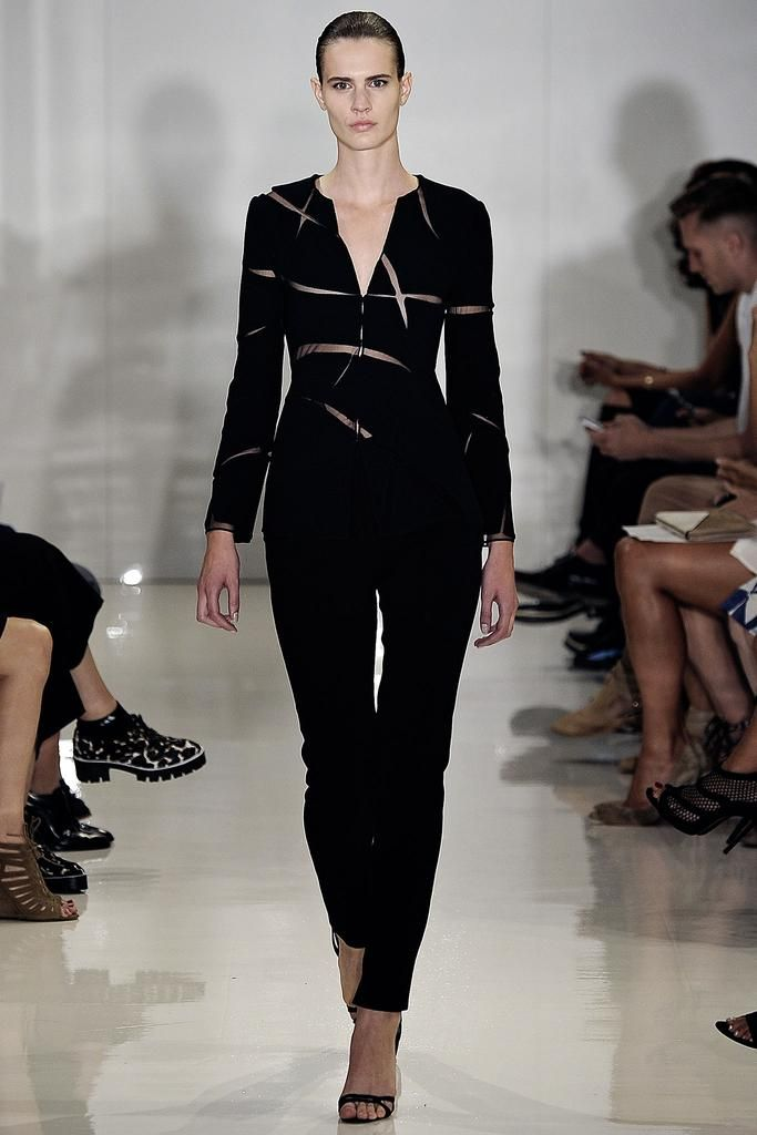 Ralph Rucci Spring 2015 Ready-to-Wear - Collection - Gallery - Look 17 - Style.com Black Slashed Double Face Crepe Jacket, Black Double Face Crepe Embrace Pant