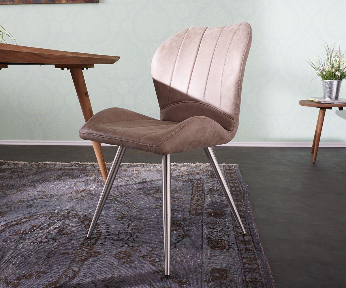 Esszimmerstühle esszimmerstuhl firoza taupe vintage gestell edelstahl möbel stühle