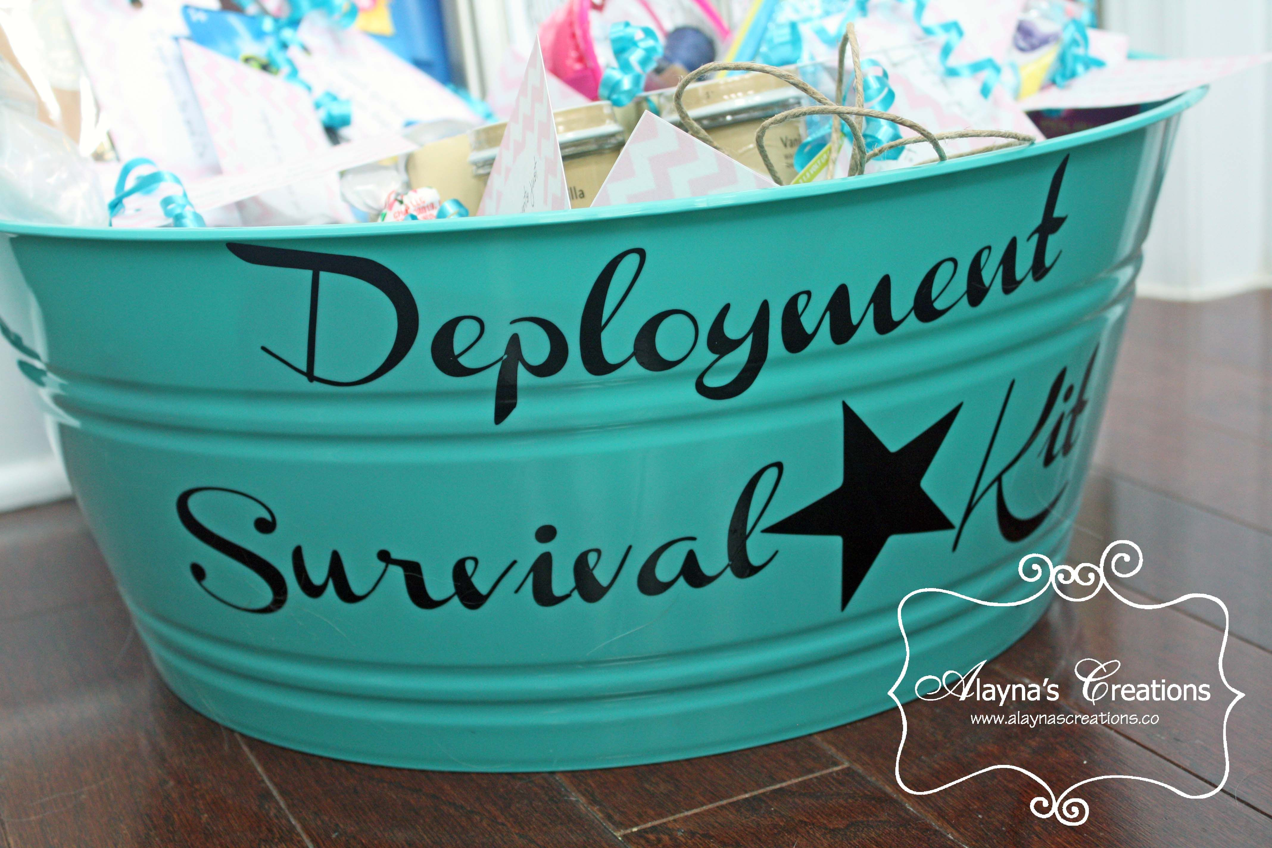 Deployment survival kit basket ideas survival kits and survival gift basket idea for spouse of a military member being deployed deployment survival kit negle Choice Image