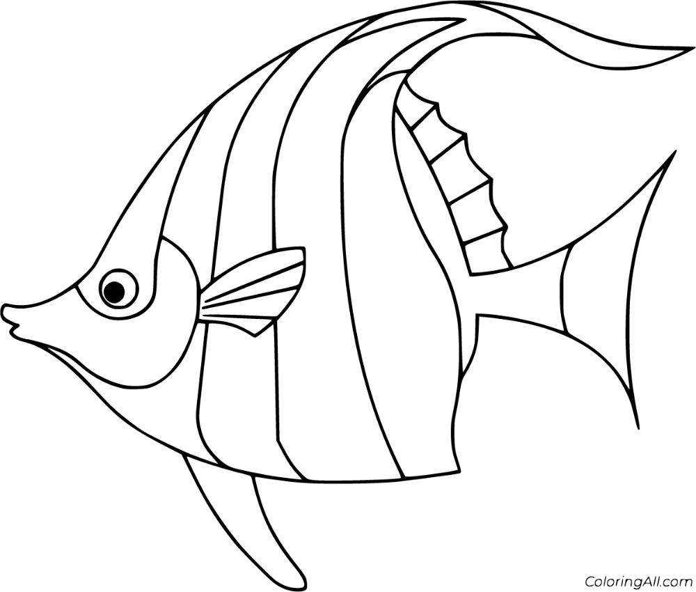 24 Free Printable Angelfish Coloring Pages In Vector Format Easy To Print From Any Device And Automatically Fit Fish Drawings Fish Coloring Page Fish Outline