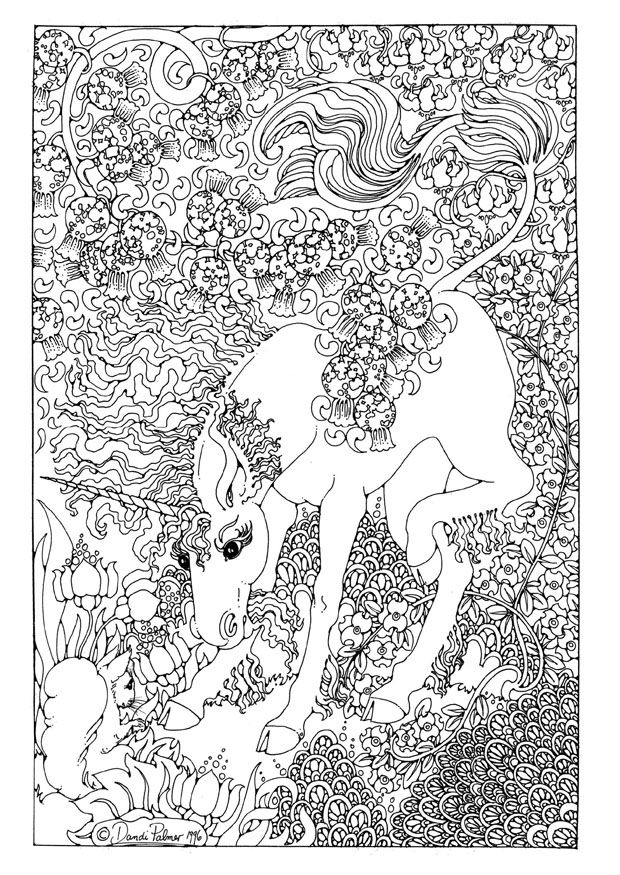 Detailed Coloring Pages For Adults | Coloring page Unicorn - img ...