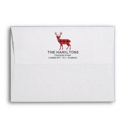 Christmas Holiday Deer Red Plaid Tartan Pattern Envelope Tartan - a2 envelope template