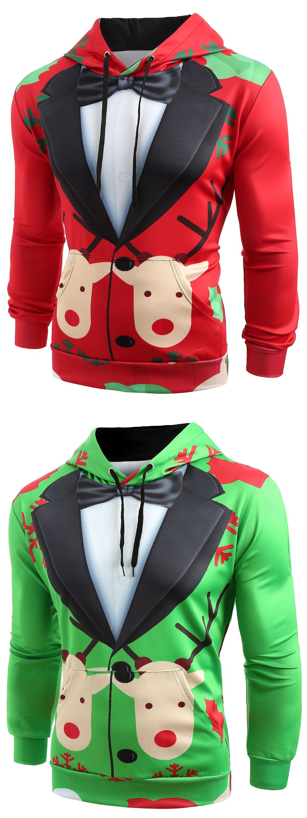 Christmas Faux Suit Print Pullover Hoodie christmas