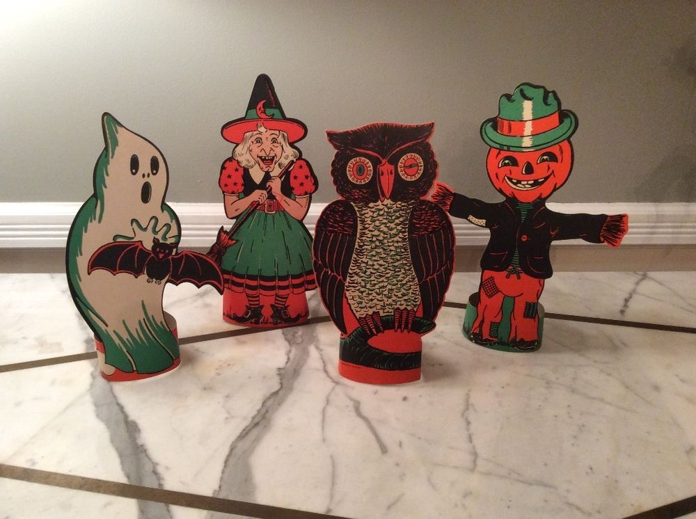 RARE Vintage Halloween Party Table Diecut Decorations Set 4 Witch - halloween party ideas decorations