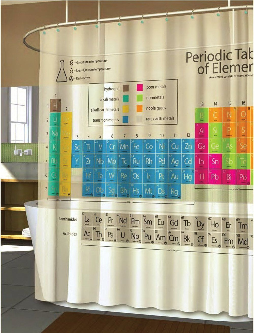 Periodic table shower curtain bed bath beyond science is awesome periodic table of elements eva shower curtain urtaz Choice Image