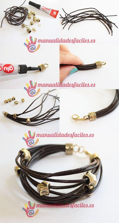 Como hacer una pulsera con cordón de cuero #spanishthings