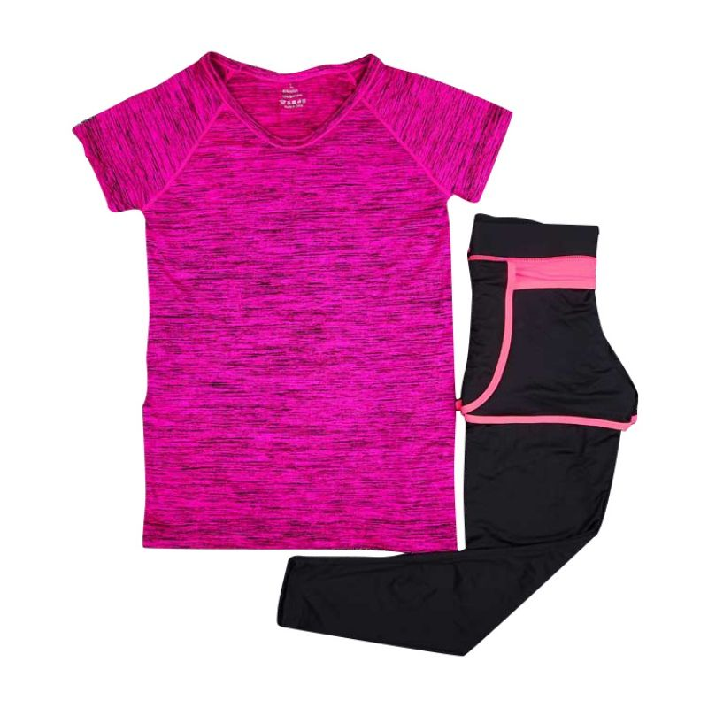 a2231c1ab528cc 2 Pcs Women Yoga Sets Sport Running Tops Shirts T-Shirt +Pants Legggings  Fitness