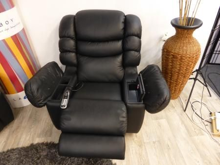 la z boy black leather executive office chair uk seafoam green cool recliner massage built in fridge cooler