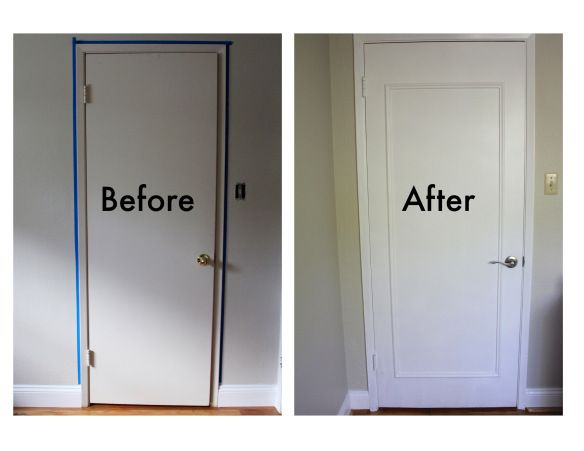 For those ugly hollow core doors - dress them up the cheap way. Plenty of