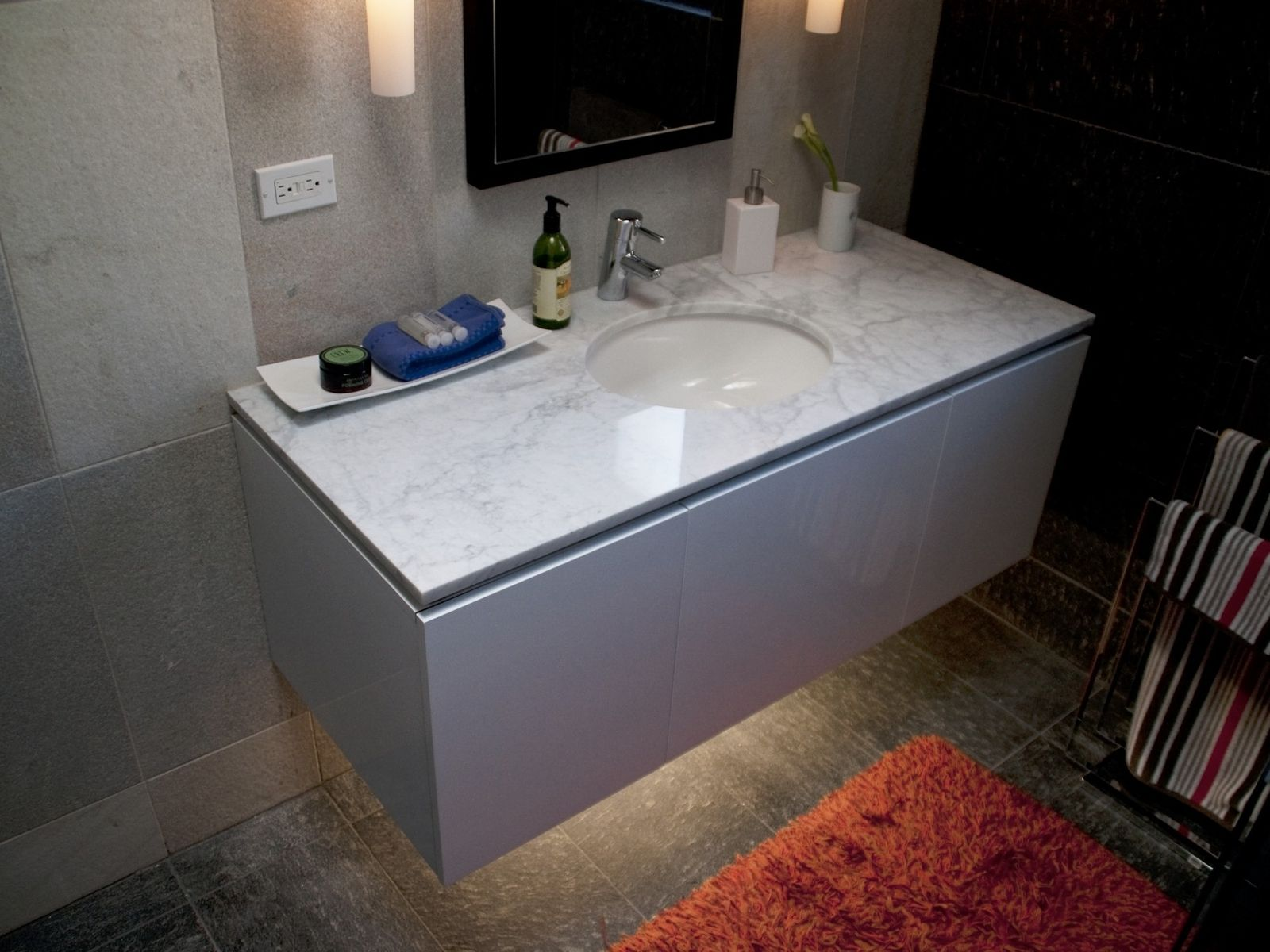 Stunning Floating Vanity For Your Bathroom Remodeling Attractive White Single Sink On Grey