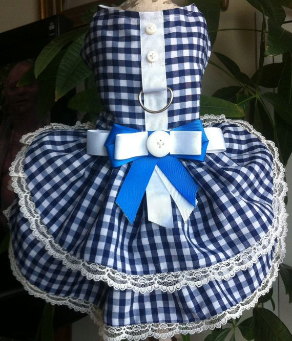 Blue white printed dog dress any occasion by CoutureFashionHouse