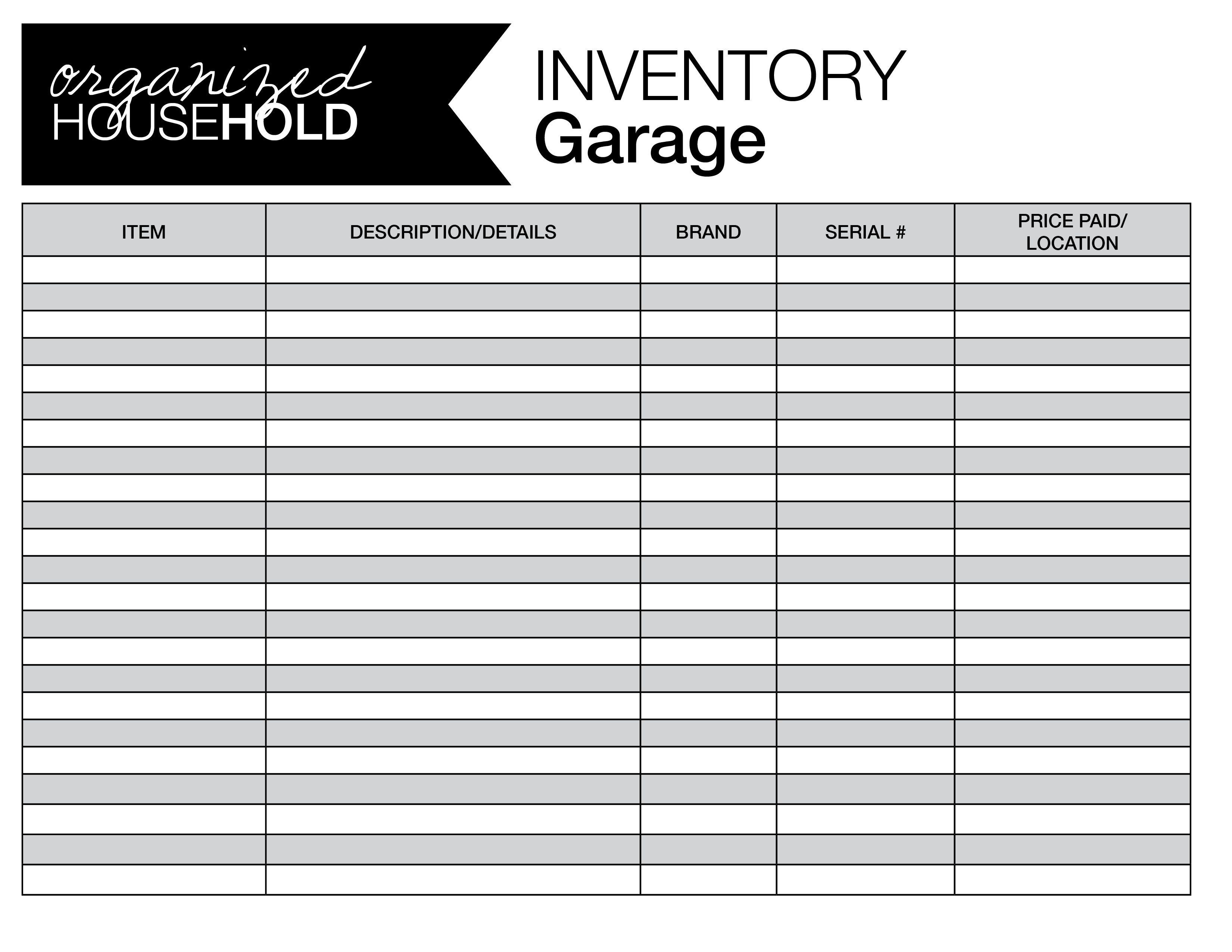 Inventory printable