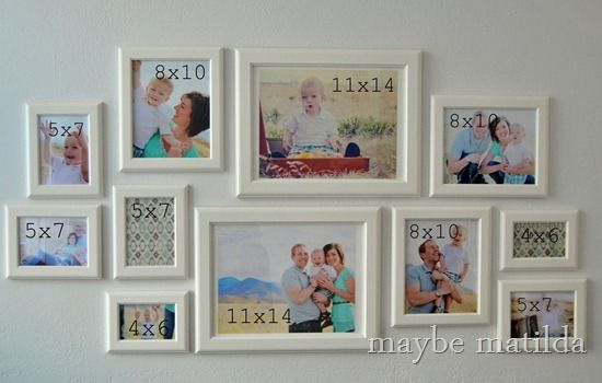 Photo Gallery Wall Setup 11x14 8x10 Keep 5x7 Smallest 4x6 Too Small Photo Wall Gallery Gallery Wall Gallery Wall Layout