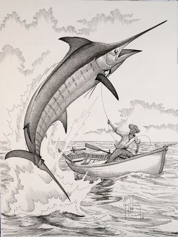 old man and marlin 19x14 ink on paper 2006 guy harvey fish pinterest fish fish art and. Black Bedroom Furniture Sets. Home Design Ideas