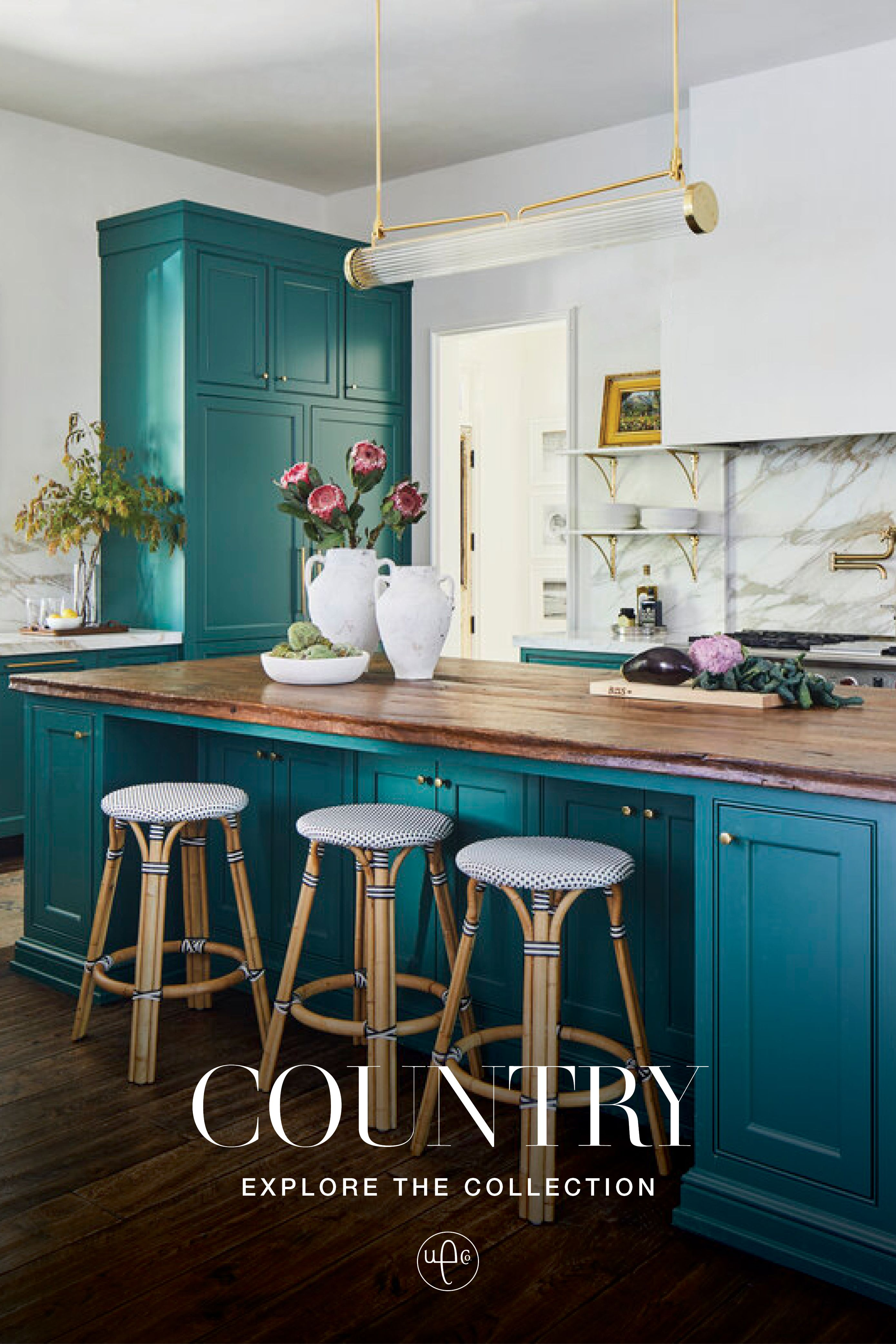 Country Idyll In 2020 Teal Kitchen Cabinets Eclectic Kitchen Kitchen Cabinet Colors