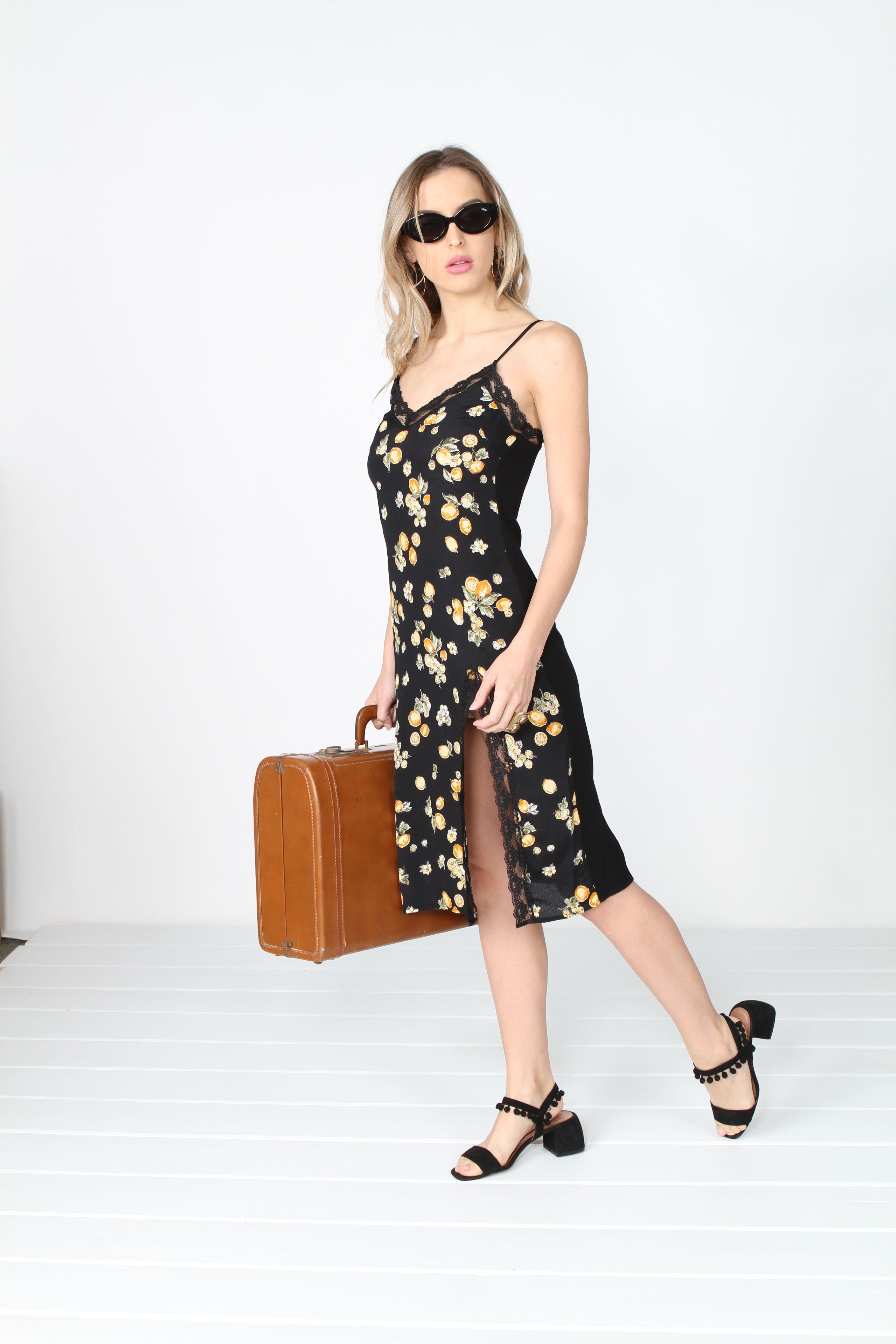 24842255f50d Midi length slip dress Adjustable straps and lace trim detailingRayon crepe  fabric, Lemon print, Black midi dress, slip dress.