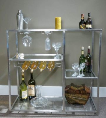 Striking Stainless Steel Bar Unit With Gl Shelves Create An Impression Indoors Or Out